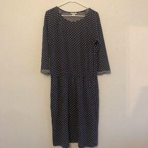 Boden A Line Midi navy blue polka dot dress